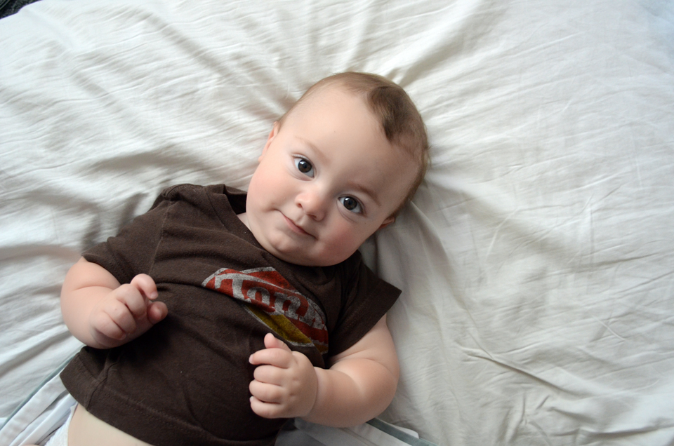 Miles - 9 Month baby photos - Being adorable while I try to get him dressed