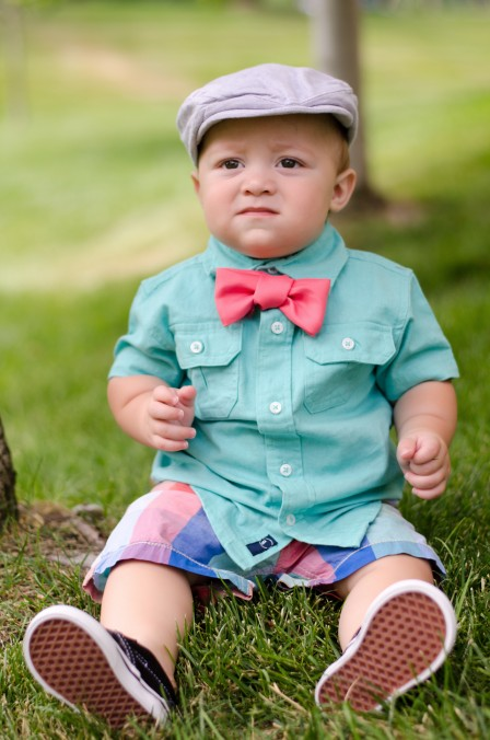 Miles | 10 months - Sporting his new outfit picked out by Bethany and the hand-made coral bowtie I diy for this session