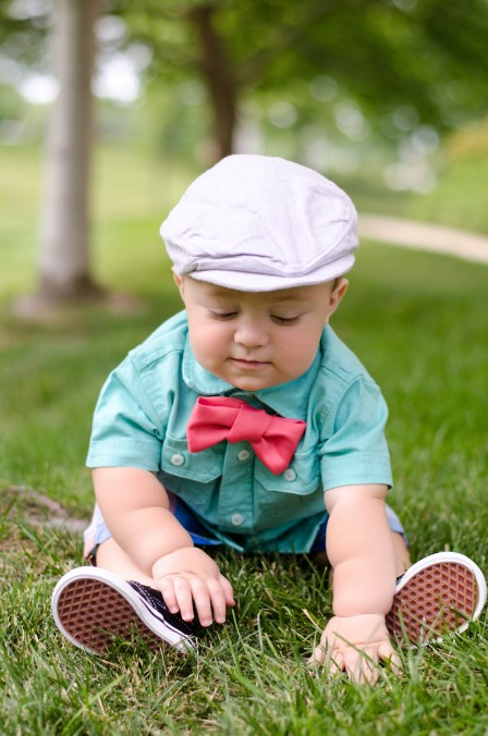 Miles | 10 months - Sporting his new outfit picked out by Bethany and the hand-made coral bowtie I diy for this session - Checking out the grass