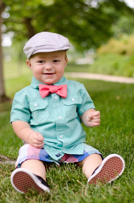 Miles | 10 months - Sporting his new outfit picked out by Bethany and the hand-made coral bowtie I diy for this session - My favorite shot