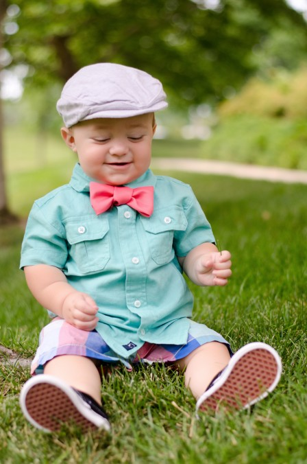 Miles | 10 months - Sporting his new outfit picked out by Bethany and the hand-made coral bowtie I diy for this session - His sweet smile