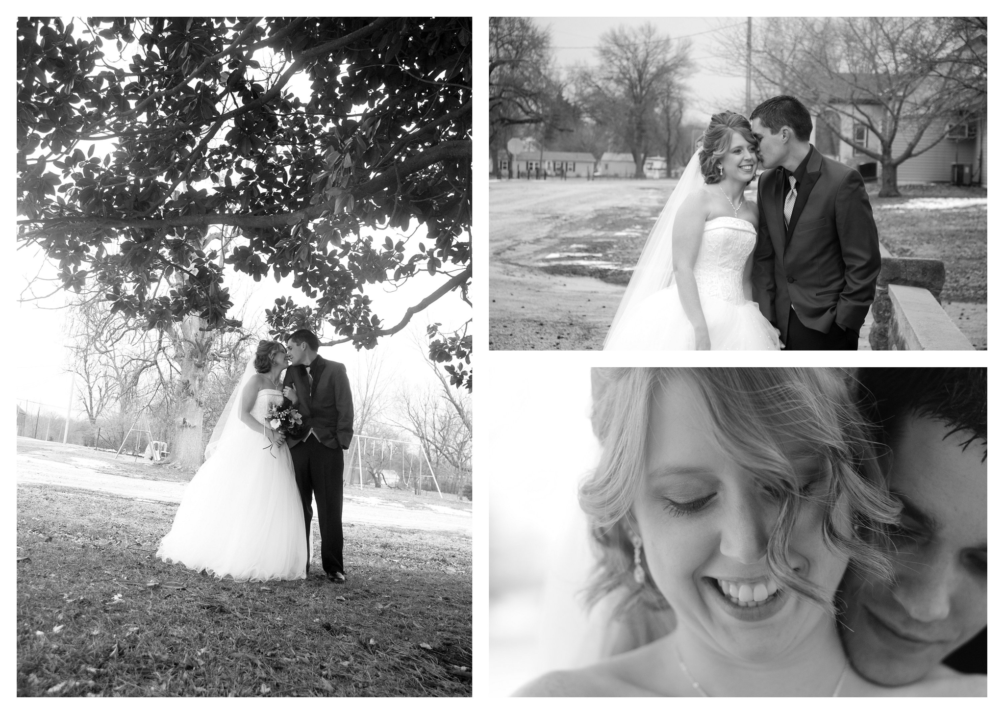 Black and white Wedding Photo by Johnson County Wedding Photographer Brittany Tarchala