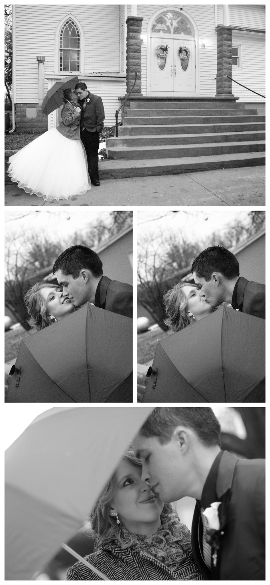 Umbrella Wedding Photo by Johnson County Wedding Photographer Brittany Tarchala