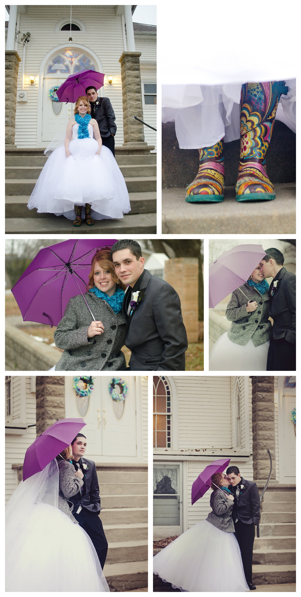 Umbrella and Rainboots Wedding Photo by Johnson County Wedding Photographer Brittany Tarchala