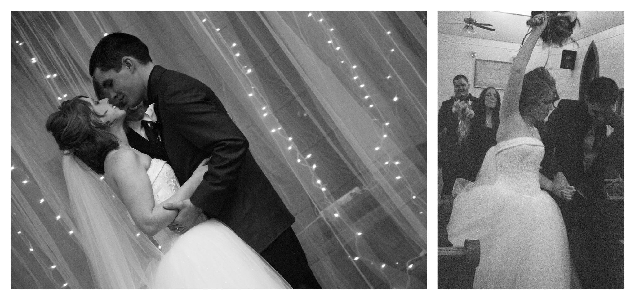 The Kiss in Black and white Wedding Photo by Johnson County Wedding Photographer Brittany Tarchala