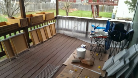 How I set up the cabinets on our deck for painting them gray