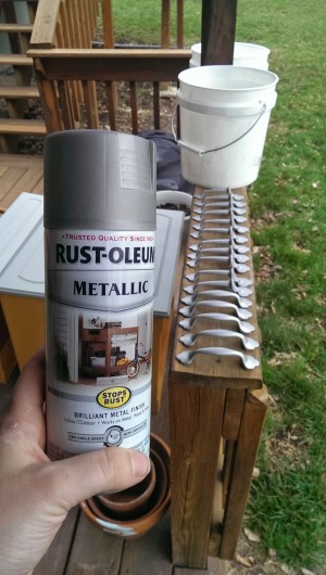 The spray paint I used. Rustoleum Brushed Nickel