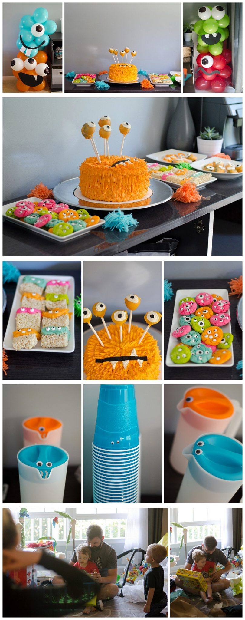 Cute and colorful monster party decorations and food ideas. Orange monster cake with eyeball skewers, eyeball cookies, colorful dipped rice krispy treats with eyeball candy, googly eyes on drinks and monster balloon towers/columns