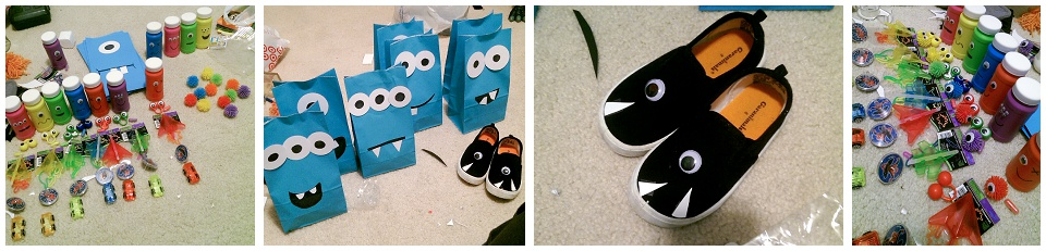 fun monster party favors, decorated monster favor bags, googly eyes and teeth on shoes