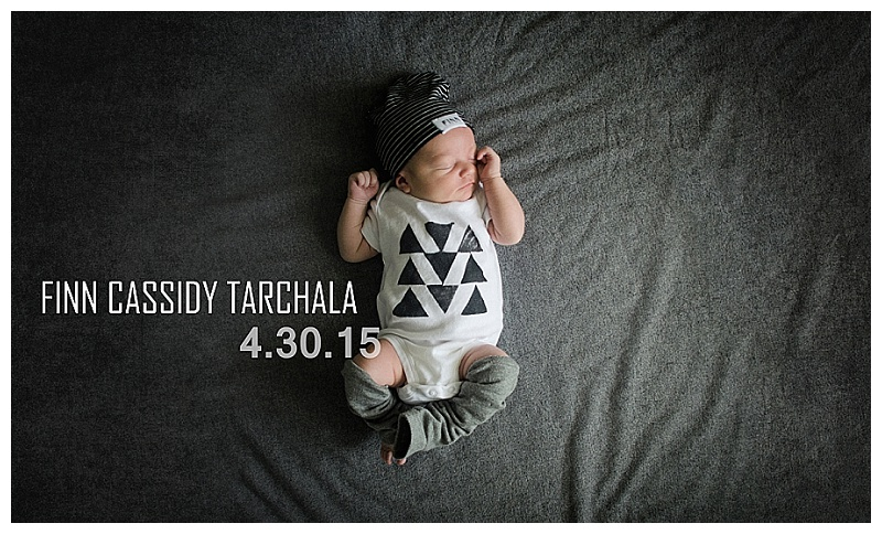 baby announcement Finn Cassidy Tarchala - modern hipster baby onsie and leg warmers