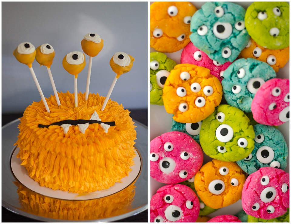 Cute orange monster cake and colorful, neon monster eyeball cookies