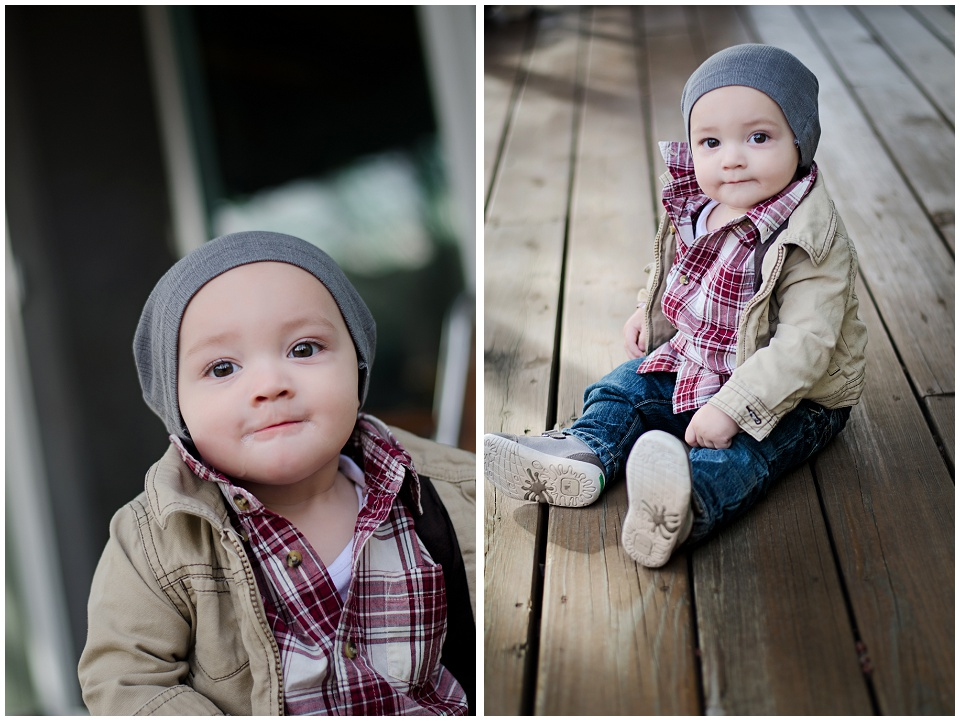 Finn's official 10 month photos - featured image - red plaid shirt, tan jacket, and grey hipster slouchy hat
